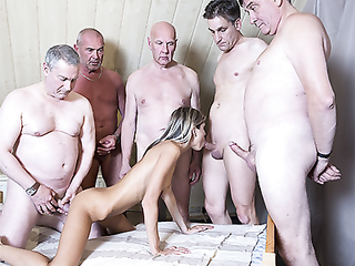 Six old pervs shove their dicks in Ginas payee holes