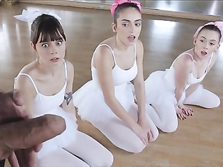 Three Tiny Teen Ballerinas Fucked By Big Cock