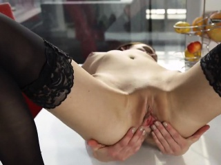Kinky czech chick stretches her tight snatch to the strange