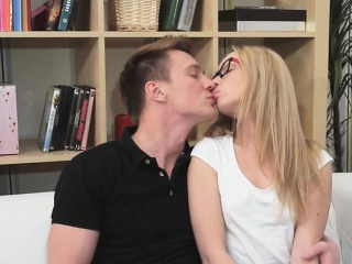 Blonde Nerd Nika Has Oral Sex With Hung Jock